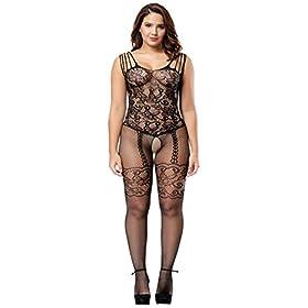 - 415doLcq0GL - Deksias Womens Strap Floral Crotchless Bodystocking Plus Size Bodysuit for Women