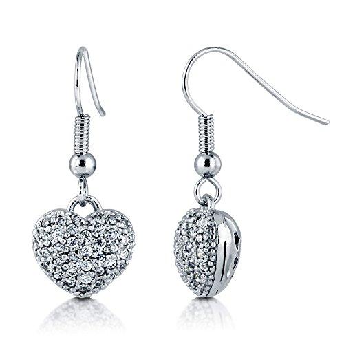 BERRICLE Rhodium Flashed Base Metal Cubic Zirconia CZ Heart Fish Hook Anniversary Wedding Dangle Drop Earrings