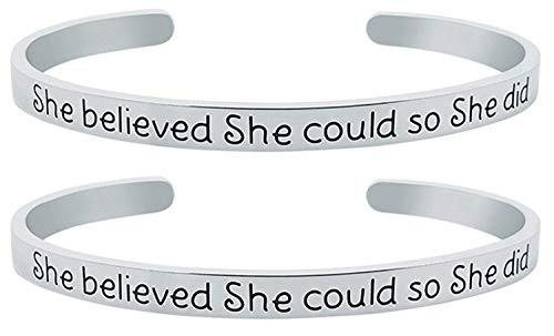 GLAM Inspirational ''She Believed She Could So She Did'' Mantra Quote Cuff Bracelet