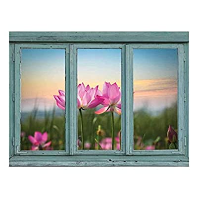Made With Top Quality, Lovely Composition, Vintage Teal Window Looking Out Into a Field of Lotus Flowers Wall Mural