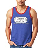 Valhalla Ticket - Vikings Afterlife Norse Gods Unisex 2-Tone Tank Top (Blue/Red, X-Large)