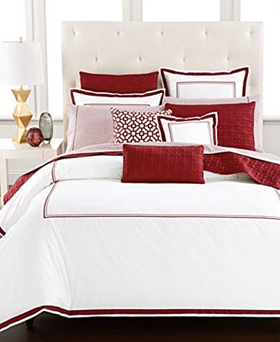 (Hotel Collection Embroidered Frame White Port Red Twin)
