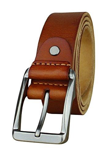 Heepliday Men's Soft Leather 15006 Belt Silver Buckle Light Brown/Orange-Tan Medium 32-34 Leather - Light Brown Leather Belt Strap