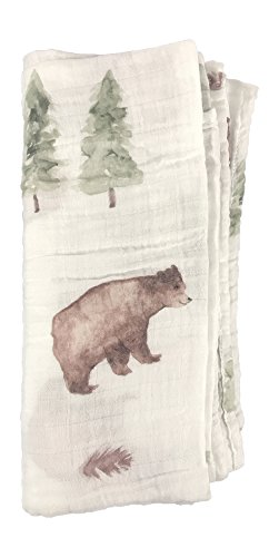 Mebie Baby 100% Cotton Muslin Swaddle (Bear in Forest) (Forest Green Flower Pattern)