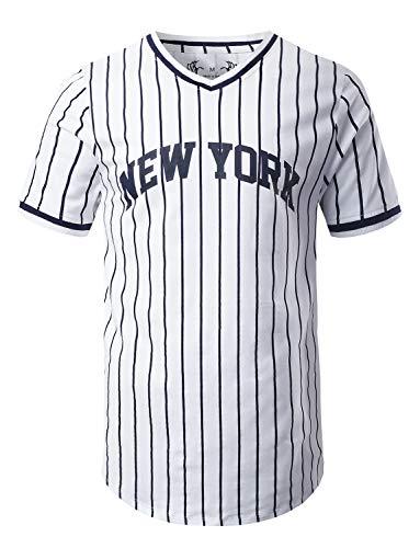 URBANCREWS Mens Hipster Hip Hop New York Baseball Jersey Print T-Shirt White Medium