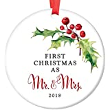 """First Christmas as Mr & Mrs Ornament 2018 Pretty Holly Berry Ceramic Keepsake for Newlywed Husband & Wife 1st Holiday Married Couple 3"""" Flat Porcelain Collectible w Red Ribbon & Free Gift Box OR00059"""