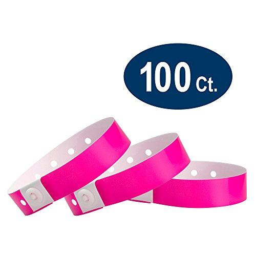 (WristCo Neon Pink Plastic Wristbands - 100 Pack Wristbands for Events)