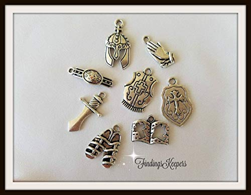 (Pendant Jewelry Making Armor of GOD Charm Set, Antique Silver Metal Biblical Religious)