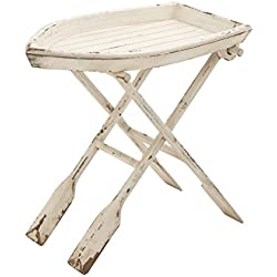 "Deco 79 20439 Wood Folding Table, 28"" x 25"", Distressed Taupe with Whitewash Finish"