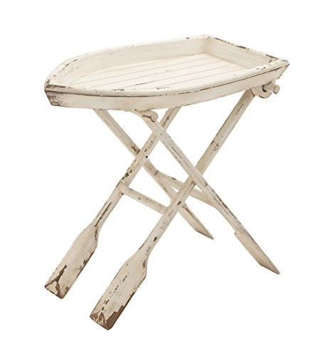 Deco 79 20439 Wood Folding Table, 28'' x 25'', Distressed Taupe with Whitewash Finish by Deco 79