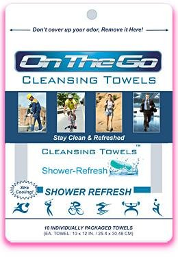 On The Go Towels Shower Refresh Large Shower Wipes (10 Pack)