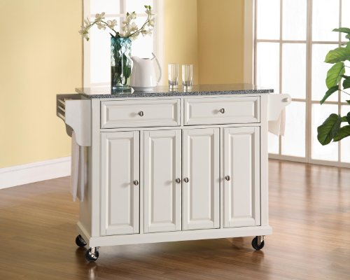 Crosley Furniture Rolling Kitchen Island with Solid Grey Granite Top - White