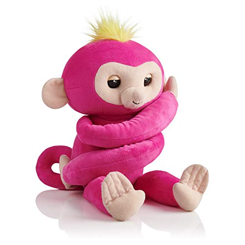 WowWee Fingerlings HUGS - Bella (Pink) - Advanced Interactive Plush Baby Monkey Pet