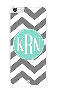 linJUN FENGiZERCASE Monogram Personalized Grey and White Chevron Pattern with Turquoise Circle iPhone 5C Case - Fits iPhone 5C T-Mobile, AT&T, Sprint, Verizon and International (White)