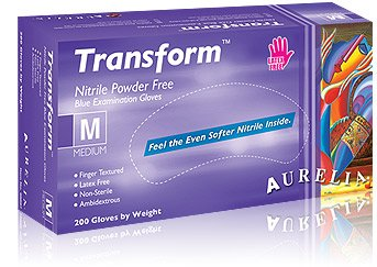 Aurelia Transform 98897 Soft Stretch Nitrile PF Examination Gloves, Size: M (Case of 10 Boxes, 200/Box)