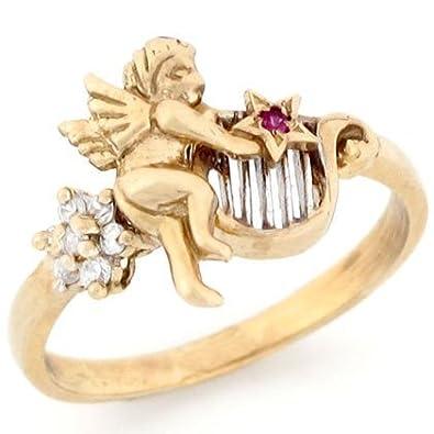 Jewelry Liquidation 10k Two Tone Gold Star Red White CZ Angel Harp Ring