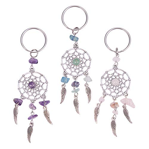 Natural Gemstone Keychain - PH PandaHall 12PCS 3-Color Dreamcatcher Keychain Keyring Natural Chip Gemstone Feather Key Chain Bag Hanging Ring Ornaments Car Pendant