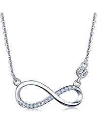 Women's Infinity Symbol Pendant 925 Sterling Silver Cubic Zirconia Necklace, Rose Gold/Silver