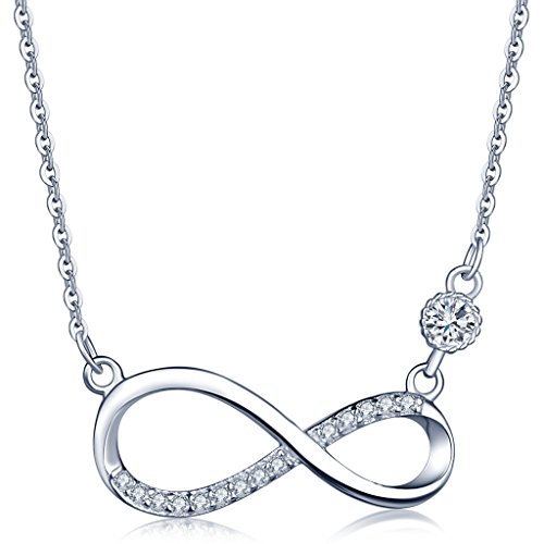 Infinite U Infinity Symbol 925 Sterling Silver Cubic Zirconia Pendant Necklace for Women/Girls, Silver