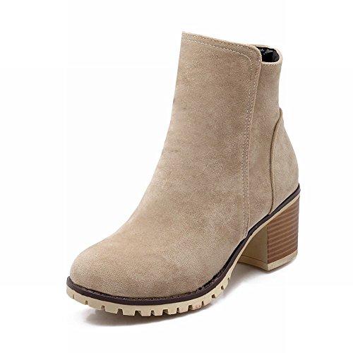 Latasa Womens Fashion Nubuck Chunky Mid-heel Ankle Boots with Zipper Beige fY4dMiUrpf
