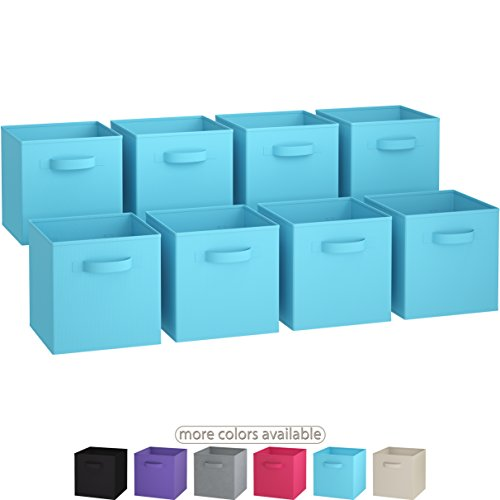 Royexe The Original Set of 8 Foldable Fabric Storage Cube Bins | Collapsible Cloth Organizer Baskets Containers | Folding Nursery Closet Drawer | Features Dual Handles (Blue)