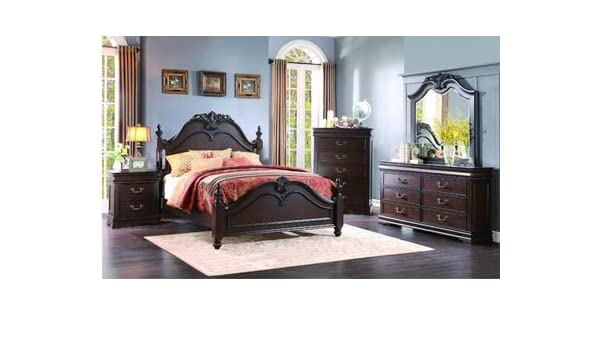 Amazon.com: HEFX Furniture Martel 5 Piece Eastern King Dark Cherry Bedroom  Set: Kitchen U0026 Dining