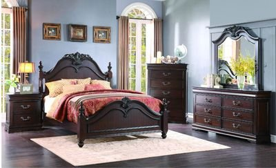 Cal King Poster Bedroom Set (Martel 5 Piece California King Poster Bedroom Set in Dark Cherry Finish)