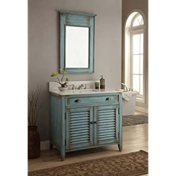 36u201d Benton Collection Cottage Look Abbeville Bathroom Sink Vanity Cabinet  Set (Mirror Included)