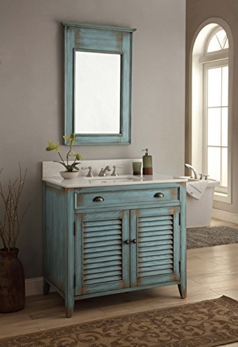 "Cottage Retreat Vanity Cabinet - 36"" Benton Collection Cottage look Abbeville Bathroom Sink Vanity Cabinet Set (Mirror Included) - Model # CF28884BU-MR28884"