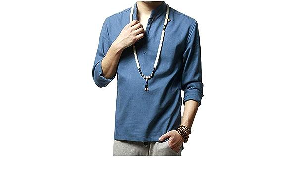 Los Hombre De Camisa De Casual Modernas Casual Cáscara Lino ...