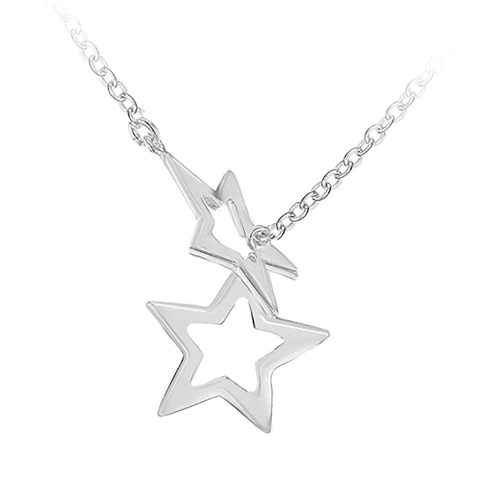 2eb8a67e3 Tuscany Silver Sterling Silver Double Star Necklet of 48cm/19