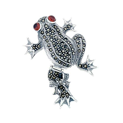 Wildthings Ltd Sterling Silver & Marcasite Frog Pin w/Red Crystal Cabochon Eyes