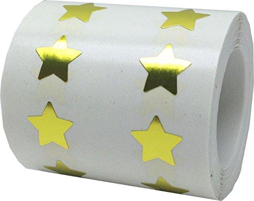 Brillante Oro Estrella Pegatinas, 1,27 Centímetros (1/2 Pulgadas) Ancho, 1000 Etiquetas en un Rollo