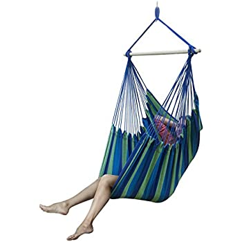 sorbus brazilian hammock chair swing seat for any indoor or outdoor spaces blue amazon     vivere brazilian hammock chair desert moon   garden      rh   amazon