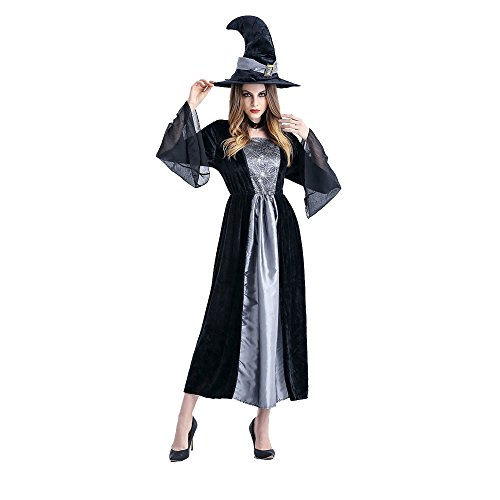 [Birdfly Complete Witch Look Women's Halloween Costume Cosplay Masquerade Party Grace Dress with Cobweb Print Sheer Mesh Sleeves Witchy Tall Hat (Gray)] (Medieval Serving Wench Costumes)