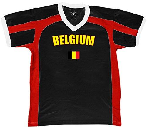 Belgium Country Flag Men's Soccer Style Sport T-Shirt, Amdesco, Black/Red/White Small