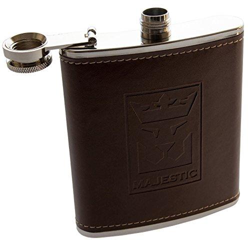 MAJESTIC Flachmann (Edelstahl-Taschenflasche mit Leder, Braun) mit hochwertigem Schraubverschluss, stylische-Trinkflasche, 200ml 7oz