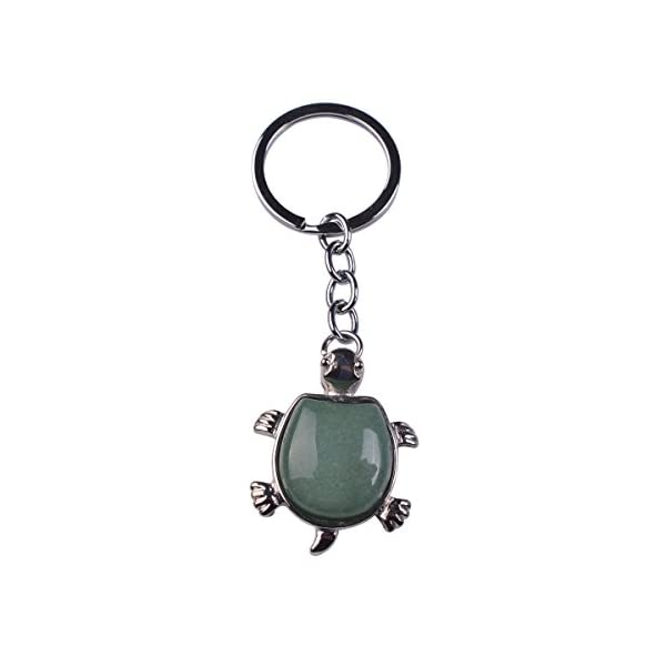 Joya Gift Jewelry Tortoise Shape Keyring Natural Gemstone Sea Turtle Pendant Keychain