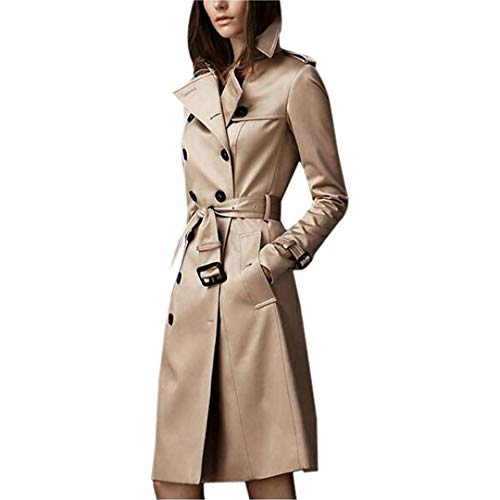 Women Spring Autumn Trench Coat Casual Long Sleeve Slim Double Breasted Female Clothes Long Trench Windbreaker Khaki XXL