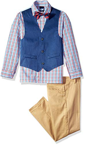 Izod boys 4-Piece Vest Set with Dress Shirt, Bow Tie, Pants, and Vest, Dark Blue, 14 ()