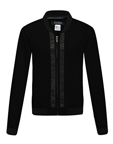 ZSHOW Women's Short Bomber Jacket Quilted Lightweight Coat(Black,Small)