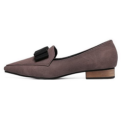 Aalardom Kvinnor Fasta Mjuk Material Pull-on Pekade-toe Låga Klackar Pumpar-shoes Brun Bowknot