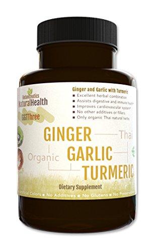Botaniceutics GG&T - Organic Ginger, Garlic and Turmeric - 120 Capsules - 500 mg - Circulatory Health from Natural Ginger, Turmeric Curcumin and Garlic Allium.