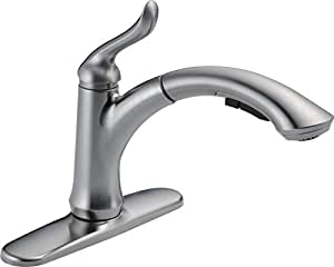 Delta Faucet 4353-AR-DST Linden Single Handle Water-Efficient Pull-Out Kitchen Faucet, Arctic Stainless