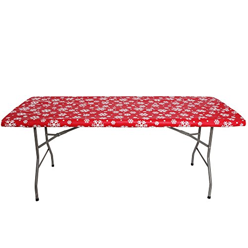 Christmas Plastic Table Cover (Christmas tablecloth for 6ft folding table -Fitted  Table Cloth for 6 Foot  - Fits Table 30 x 72 inch - Plastic  Vinyl Flannel Backed With Elastic Rim - by ATK  (CHRISTMAS DECORATIONS RED SNOW FLAKE))