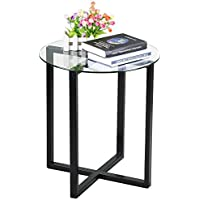 Yaheetech End Side Table Round Glass Top Coffee Sofa Table Modern Small Spaces Bedroom Living Room Furniture