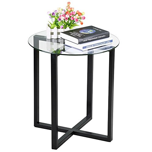 Yaheetech End Side Table Round Glass Top Coffee Sofa Table Modern Small Spaces Bedroom Living Room Furniture (Bedroom Wrought Iron Furniture White)