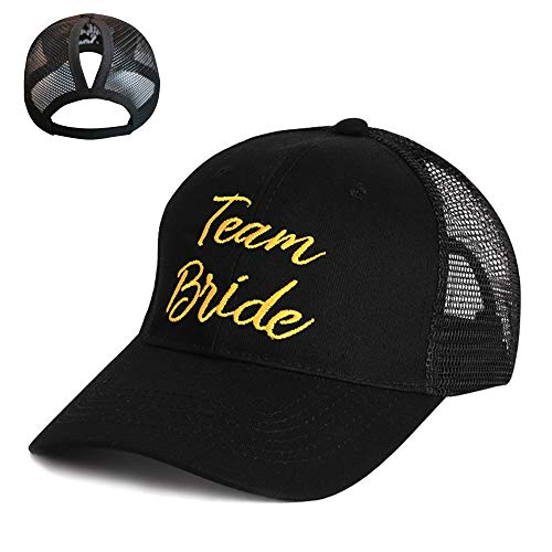 STARIMCARBON Women's Funny High Bun Ponytail Adjustable Mesh Trucker Baseball Cap Hat for Party(Black,Team Bride) -