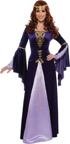 [Rubie's Costume Deluxe Guinevere With Headpiece, Purple/Black, Standard Costume] (Renaissance Princess Adult Costumes)
