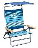 Tommy Bahama 5-Position Big Kahuna Folding Beach Chair with Sun Canopy - Blue Print